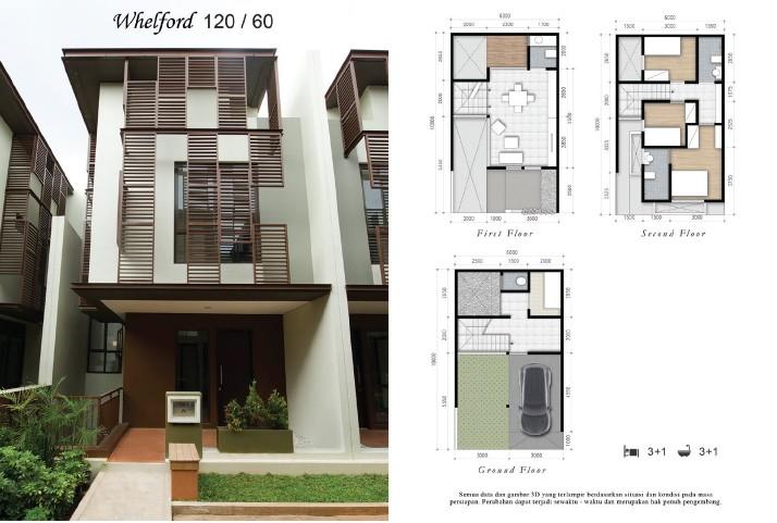 rumah 2 Whelford, Rumah 3 lantai Siap Huni di BSD, Diskon sampai 15%, KPR DP 0%