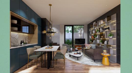 Type 1 Corner - Parc Villa - Living Room and Kitchen
